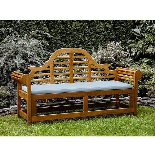 Beliani Ławka ogrodowa drewniana 180 cm poducha jasnoniebieska java marlboro
