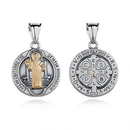Srebrny oksydowany medalik pr.925 święty benedykt z pozłacanym wizerunkiem marki Produkt polski