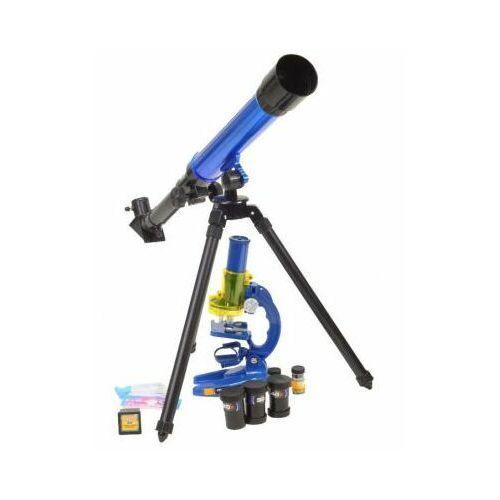Malplay Zestaw: edukacyjny teleskop astronomiczny + mikroskop + wymienne okulary/soczewki i akcesoria.