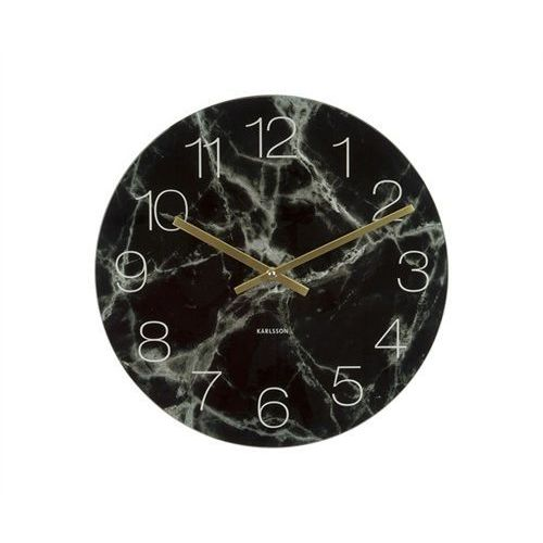 Zegar stołowo-ścienny Glass Clock black Marble by Karlsson, KA5616BK