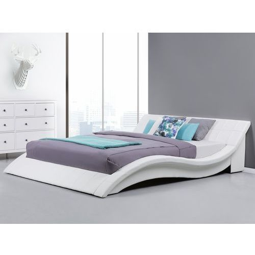 Łóżko wodne 180x200 cm dodatki skórzane białe VICHY (4260580932900)