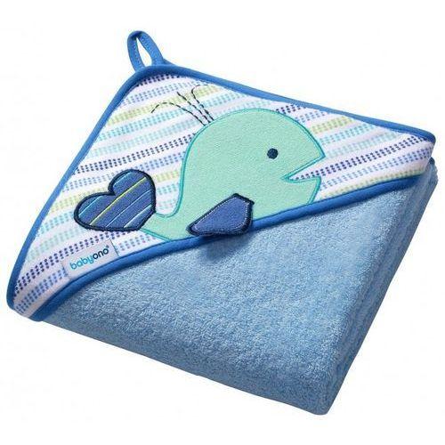 Babyono Okrycie kąpielowe  frotte 100x100 cm wieloryb niebieski (5901435404942)