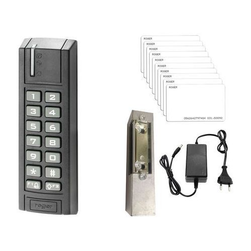 Zestaw kontroli dostępu Roger Zamek kodowy PRT12EM-G Karta zbliżeniowa Elektrozaczep Zasilacz, ZK10333