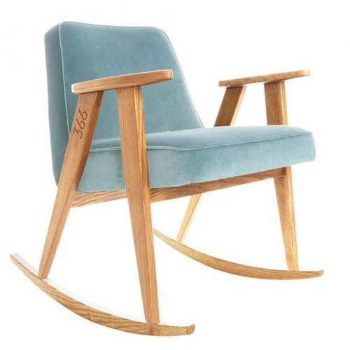 Fotel bujany 366 Velvet Jasnoszary Ciemny dąb, marki 366 Concept do zakupu w Designersko.pl