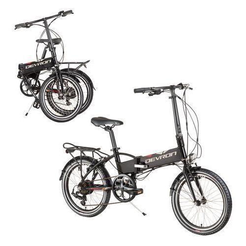 """Składany rower elektyczny 20124 20"""" - model 2017, czarny marki Devron"""