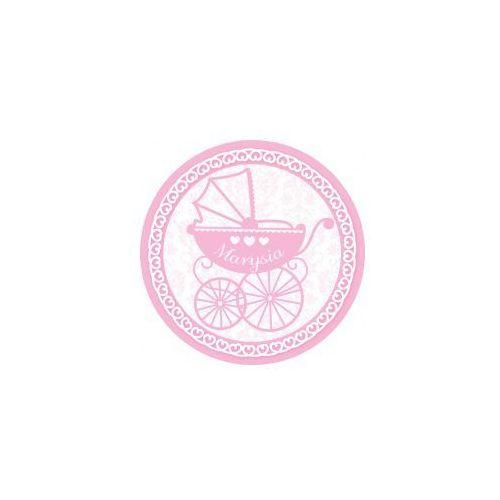 Oms Opłatek personalizowany na chrzest święty różowy wózek Ø20cm