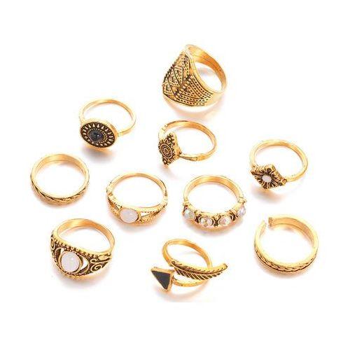 Pierścionek zestaw 10 elementów złoto antyczne - złoto antyczne