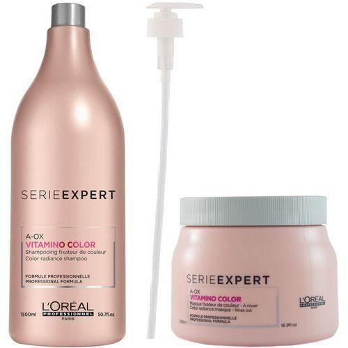 Loreal Vitamino Color A-OX Zestaw do włosów farbowanych: Szampon 1500 ml + Maska 500 ml + POMPKA W PREZENCIE! (9753197531673)