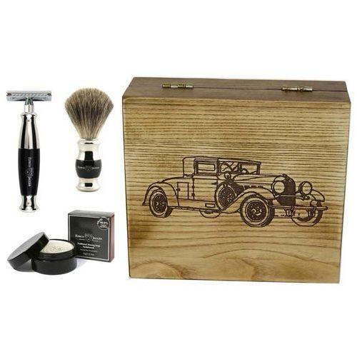 Samochód retro ii, czarny, 4-el zestaw do golenia w drewnianym pudełku marki Edwin jagger
