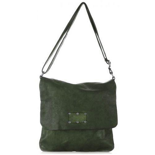 6d8aa5f974e02 Genuine leather Włoskie torebki ze skóry naturalnej listonoszki w stylu  vintage butelkowa zieleń (kolory) 339