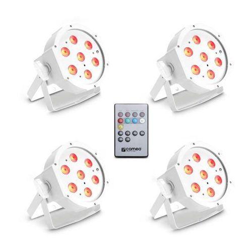 Cameo FLAT PAR CAN TRI 3W IR WH SET - Zestaw 4 lamp PAR 7 x 3 W High Power TRI Colour FLAT LED RGB w białej obudowie wraz z pilotem na podczerwień