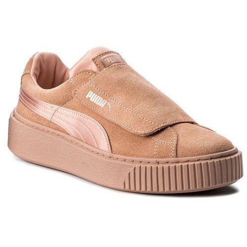 Sneakersy - platform strap satin ep 366009 01 peach beige/peach beige/rose marki Puma