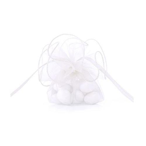 Woreczki z organzy dla gości - białe - śr. 26cm - 20 szt. (5901157416599)