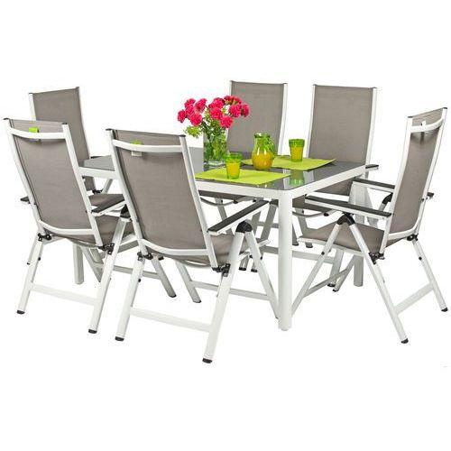 Edomator.pl Meble ogrodowe aluminiowe verona vetro stół i 6 krzeseł - białe - hartowane szkło