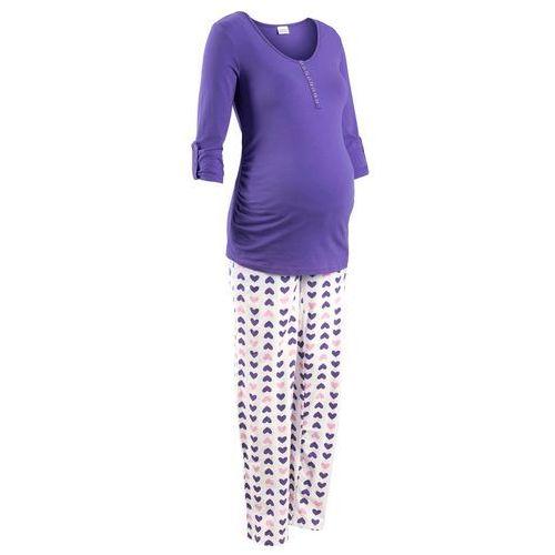 Bonprix Piżama do karmienia piersią (2 części) lila-biały z nadrukiem