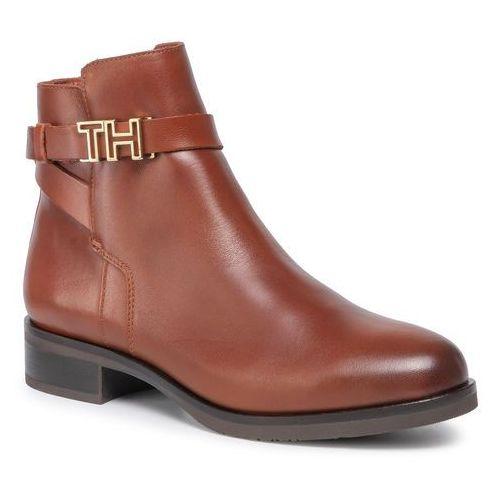 Botki - th hardware leather flat bootie fw0fw04280 ginger bread 202 marki Tommy hilfiger