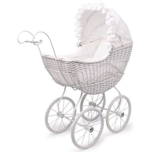 Wózek Vintage wiklinowy dla lalek