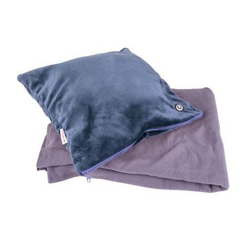 Insportline Zestaw - poduszka masująca i koc trawel, ciemny niebieski