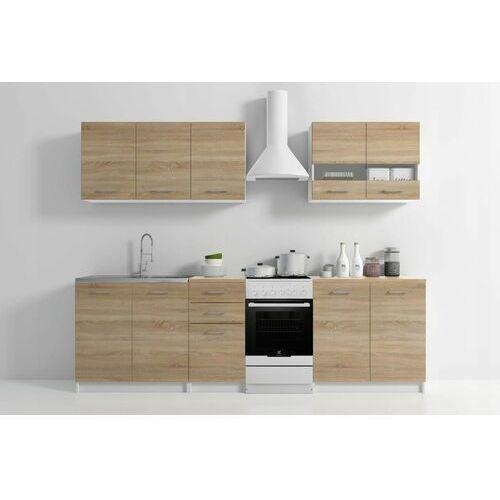Zestaw mebli kuchennych z blatem sonoma SET200 biały mat/dąb sonoma