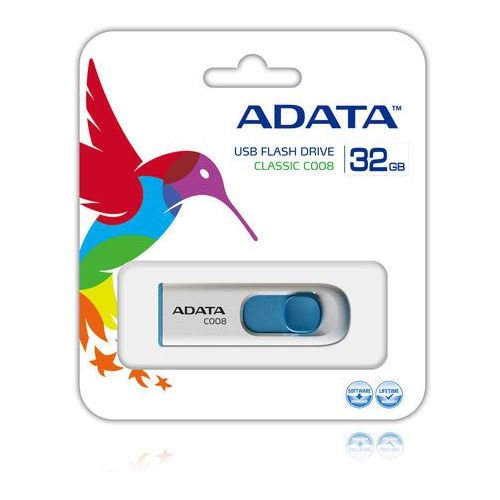 ADATA pamięć C008 32GB USB 2.0 ( White+Blue )