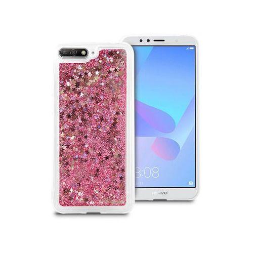Etui liquid glitter Huawei Y6 2018 brokat różowy