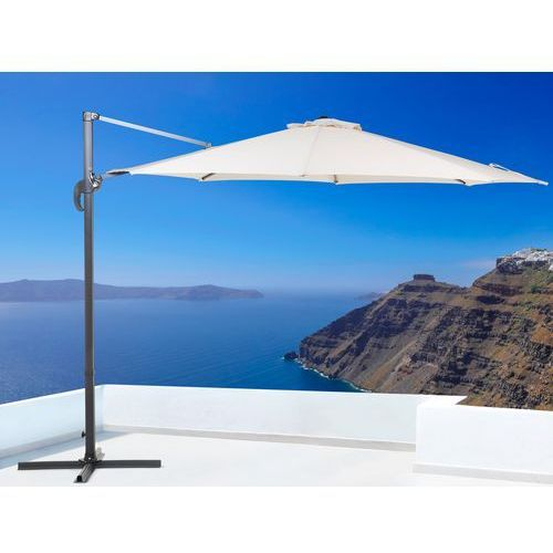 Parasol ogrodowy – beżowy – ø 291 cm – na wysięgniku – metalowy - SAVONA (7081457020912)