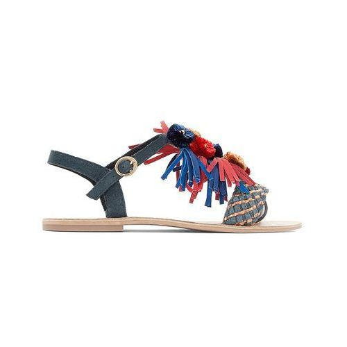 Skórzane sandały z pomponikami, szeroka stopa 38-45