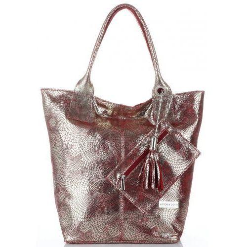 e694935c7f9c eleganckie torebki damskie skórzany shopperbag z etui w rozmiarze xl  czerwone ze złotem (kolory) marki Vittoria gotti 225