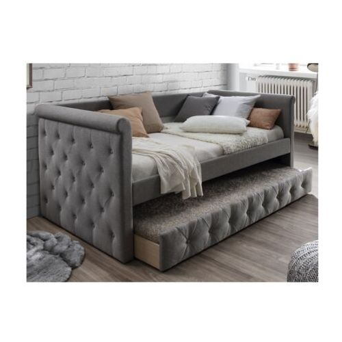 Łóżko wysuwane pikowane louise - 2 × 90 × 190 cm - szara tkanina marki Vente-unique.pl