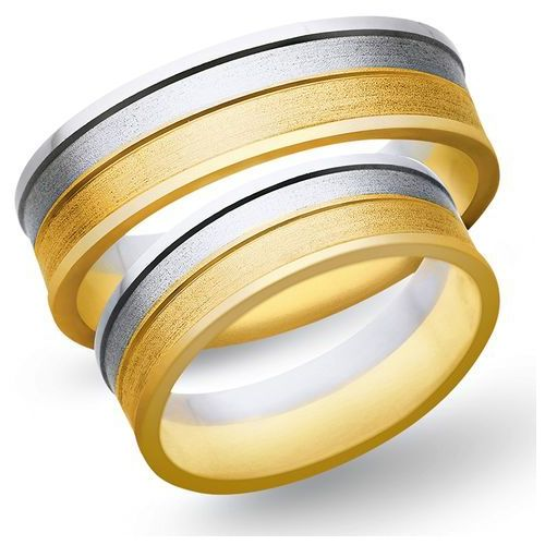 Obrączki z żółtego i białego złota 6mm - O2K/137 - produkt dostępny w Świat Złota