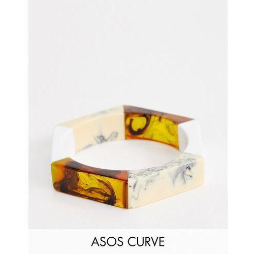 ASOS DESIGN Curve bangle bracelet in mixed resin hexagon design - Multi