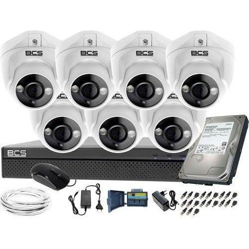 Bcs Kompletny zestaw do monitoringu 7 kamer kopułkowych do firmy placu -xvr0801 7x bcs-dmqe1200ir3-b dysk 1tb akcesoria