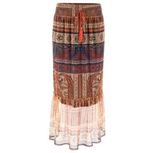 Bonprix Długa spódnica z siatkowego materiału beżowy z nadrukiem