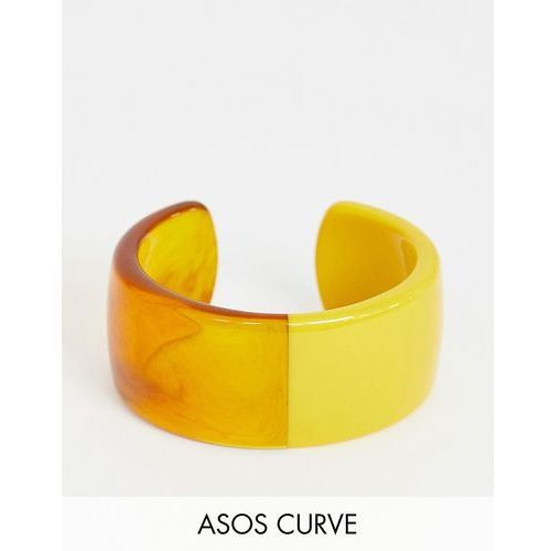 Asos design curve cuff bracelet in split resin and tortoiseshell design - multi marki Asos curve