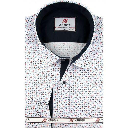 Koszula męska biała we wzory slim fit na długi rękaw a091 marki Assos