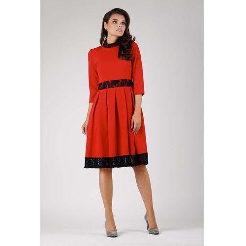 42d14caba8 Czerwona wizytowa rozkloszowana sukienka z koronką