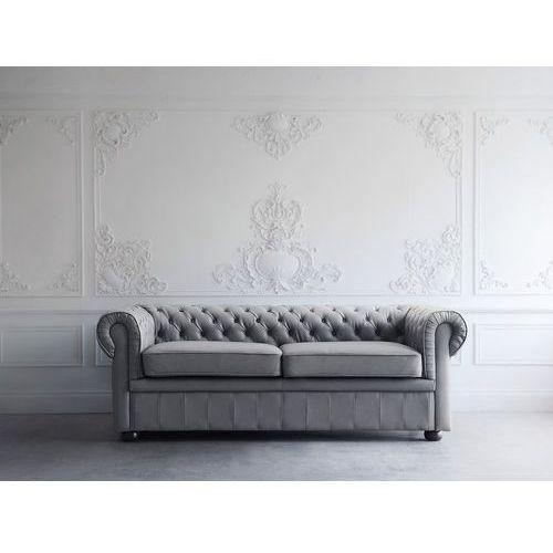 Sofa skórzana szara CHESTERFIELD, kolor szary