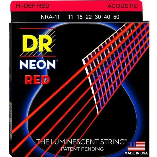 neon hi-def red - struny do gitary akustycznej, coated, medium light.011-.050 marki Dr