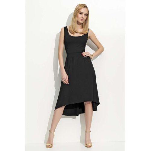 Czarna sukienka asymetryczna na szerokich ramiączkach, Makadamia, 36-42