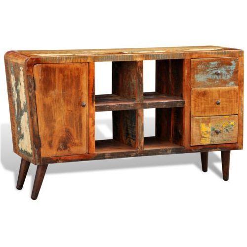 Drewniana półka z szafką 4 półeczkami oraz 3 szufladami, vidaXL