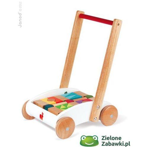 Pchacz, chodzik dla dzieci, drewniany wózek z kolorowymi klockami,