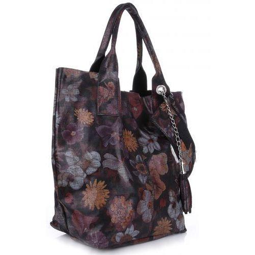 0ebabf1f4eeb5 VITTORIA GOTTI Made in Italy Torebka Skórzana Shopper Bag Kwiaty Multikolor  - Czarna (kolory) 189
