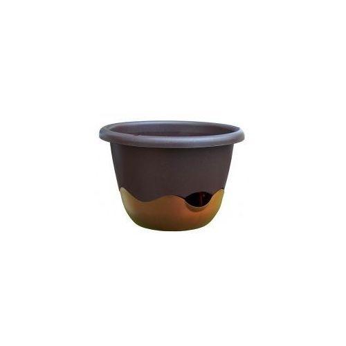 Donica z systemem nawadniania mareta 30 czekoladowy + złoto-brązowy marki Plastia