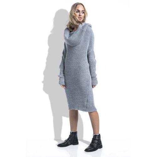 1039699fb7 Szara Sukienka Swetrowa z Obfitym Golfem