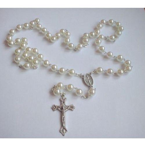 Różaniec perełkowy w kolorze białym + etui kwadratowe z wizerunkiem Pana Jezusa