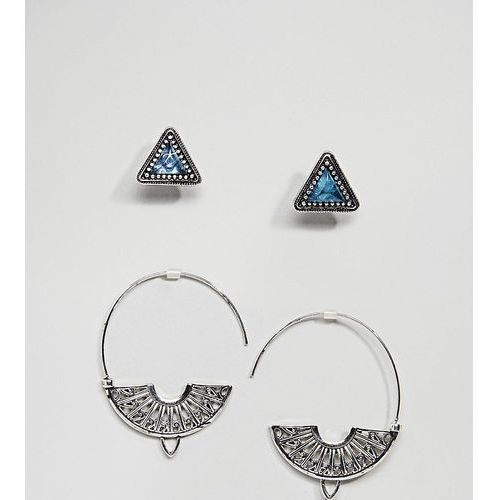 Asos design pack of 2 triangle stone stud and engraved pull through earrings - silver