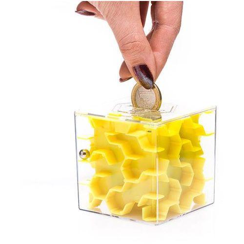 Mini skarbonka labirynt - żółta - żółty marki Gadget master