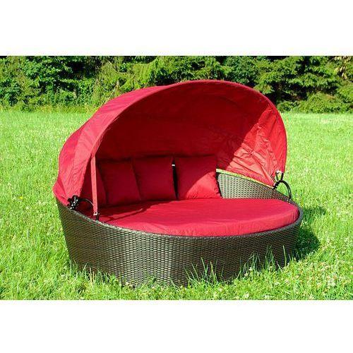 Ekskluzywna leżanka ogrodowa Garth polyrattan czerwona z kategorii leżaki ogrodowe