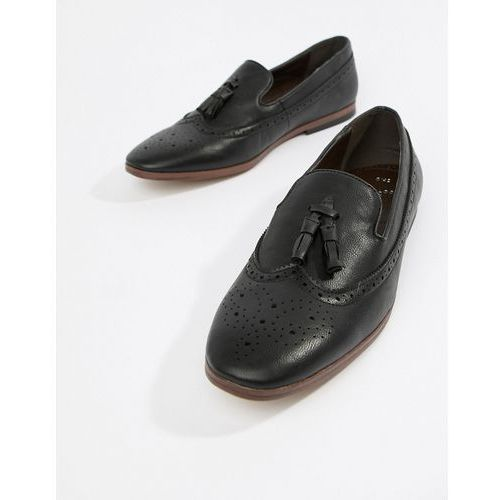 faux leather loafers with embossed detail in black - black, New look