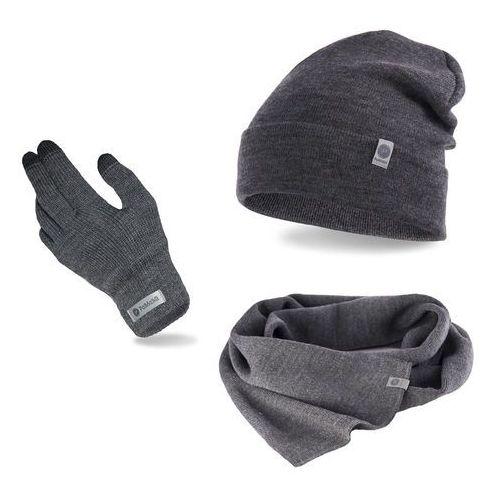Pamami Komplet męski - czapka, szalik, rękawiczki - szary